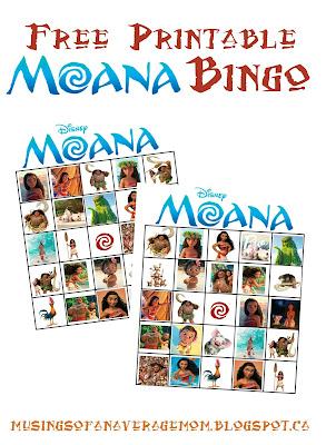 Free Printable Moana bingo