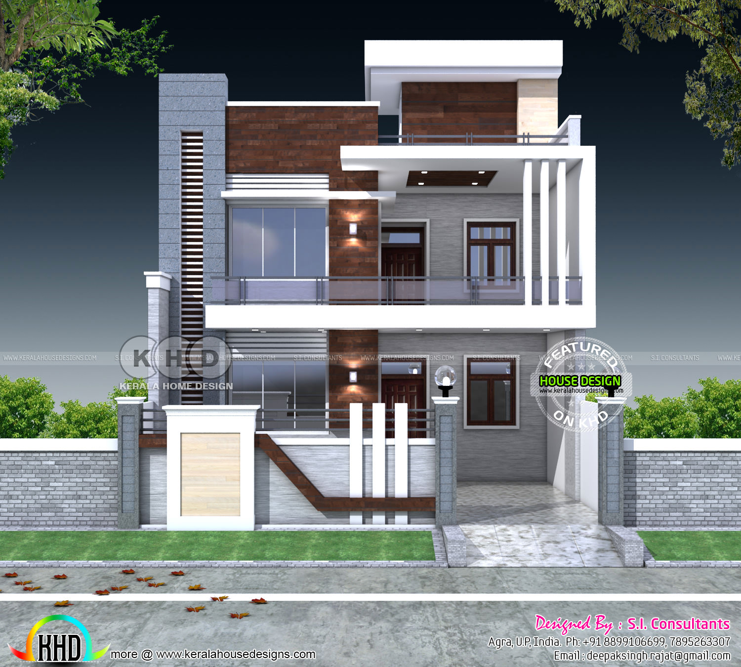 5 bedroom flat roof contemporary india home kerala home for Indian house image