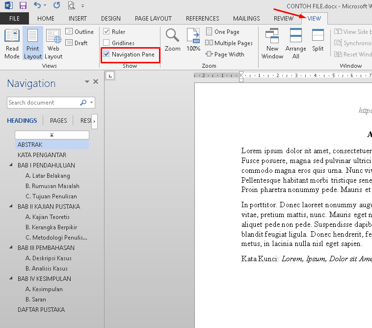 cara membuat daftar isi otomatis di microsoft word - show navigation pane in microsoft word