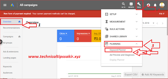 1) Google Adwords: Google Keyword Planner