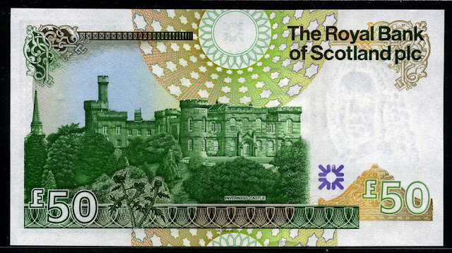 Royal Bank of Scotland currency Scottish bank notes 50 Pounds Sterling banknote Inverness Castle
