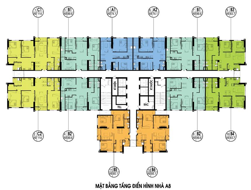 Mặt bằng điển hình tòa A8 - Chung cư An Bình City