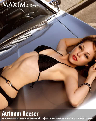autumn reeser sexy maxim photo shoot leather heels car beach