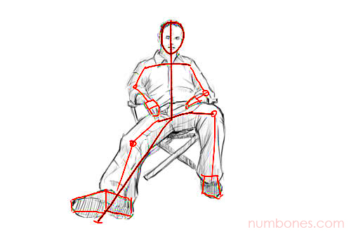 Step 3 - How to Draw a Seated Person for Beginners Easy Step by Step
