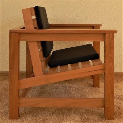 O perfil da cadeira salienta relações matemáticas, entre as quais se destaca a razão de um para três, reconhecível nas alturas das junções do assento com as pernas laterais, em comparação com a trava inferior.