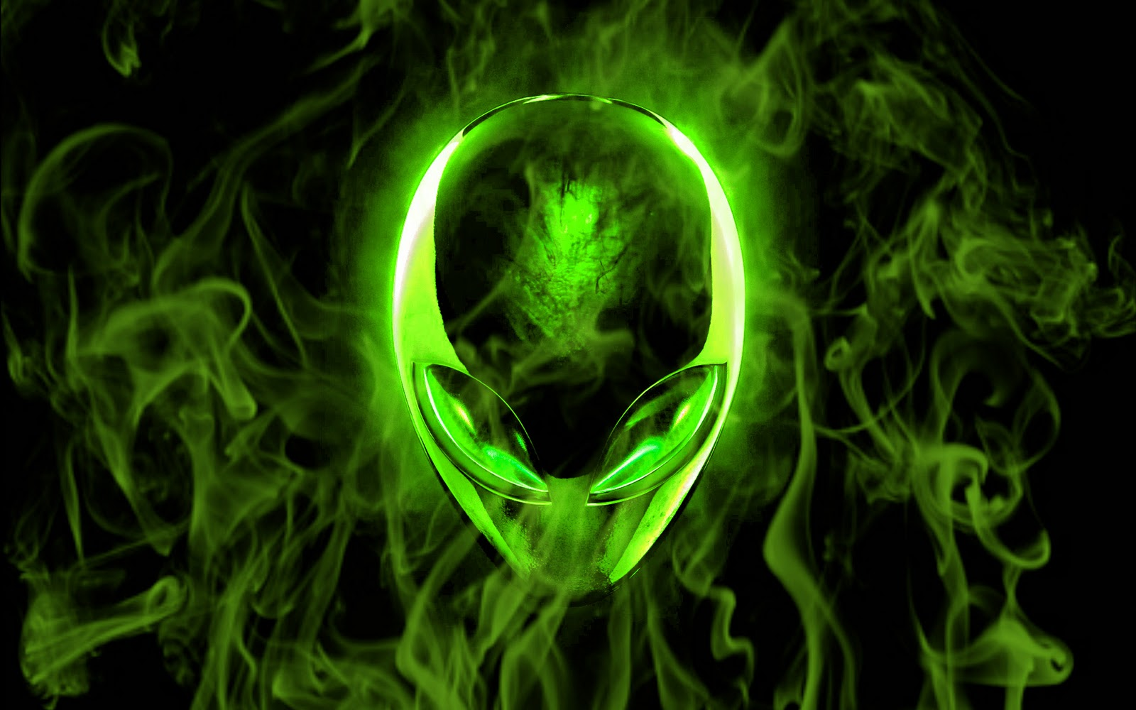 Awsome Cute Skull Wallpapers Alienware Wallpapers Green Black Art Two