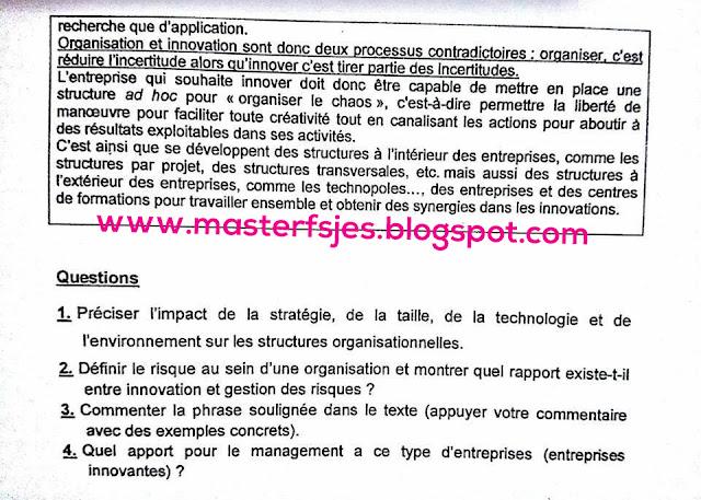 Master Management des Organisations et des Projets