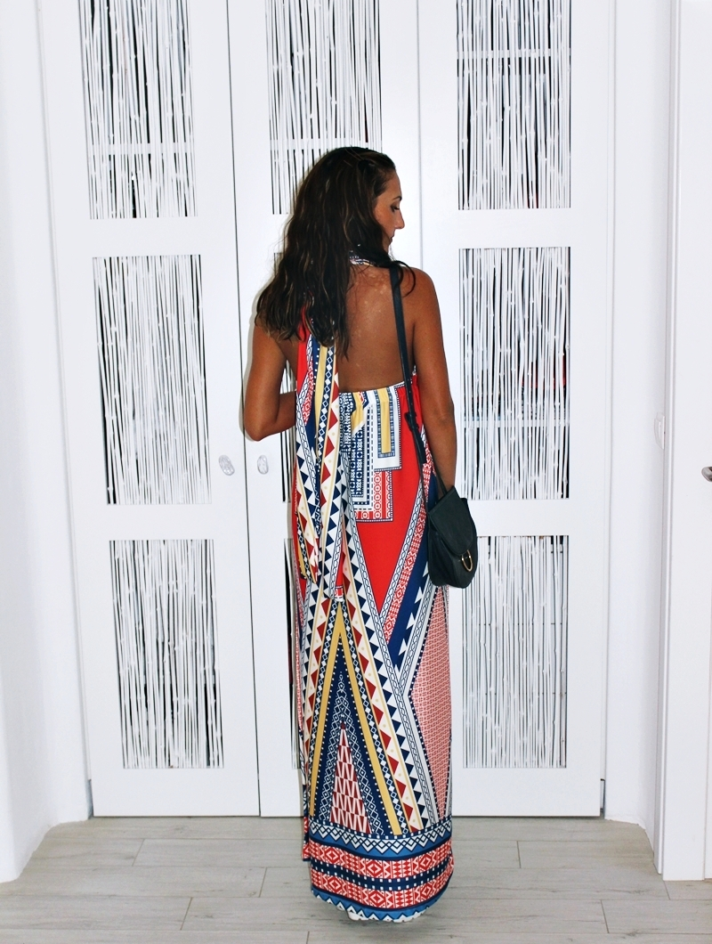 Karakikes Φορέματα maxi printed dress with open back