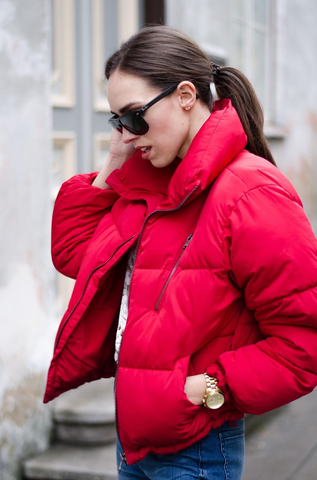 red puffa jacket
