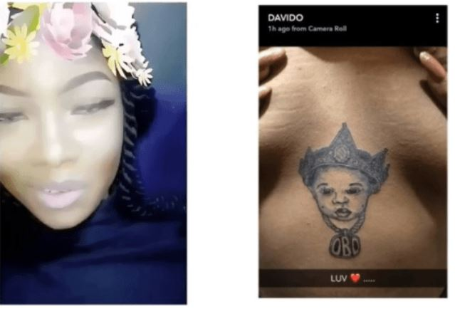 Lady Gets Davido's Face Tattooed Beneath Her Boobs {Photo}