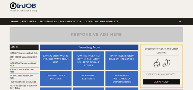 InJob Responsive Blogger Templates