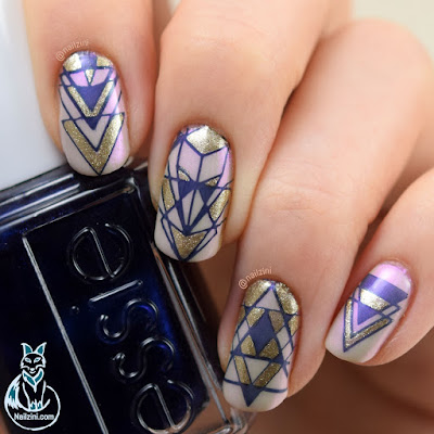 Geometric Reverse Stamping Nail Ar