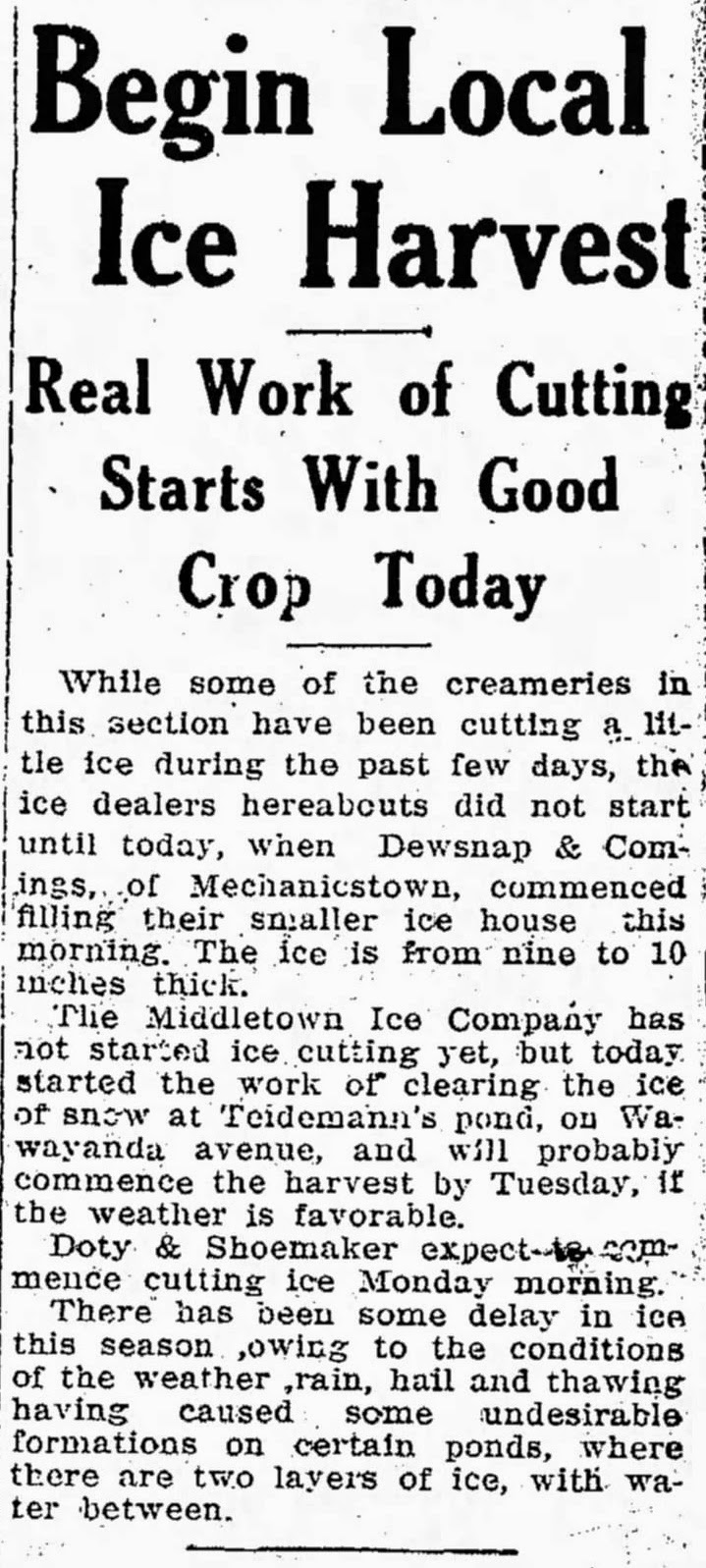 Middletown Times Press, December 31, 1915 edition, Begin Local Ice Harvest