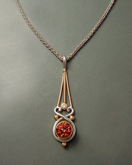 Coppery/Peach Tourmaline Pendant