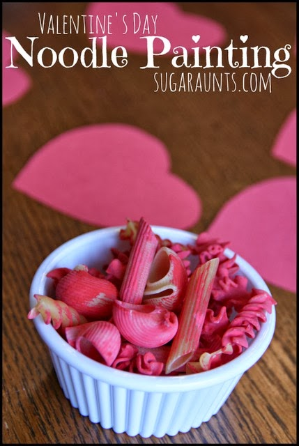 Fine Motor Craft for kids with painted noodles with a Valentine's Day theme!