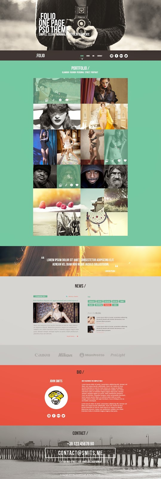 Folio One Page PSD Theme Flat Design Free download