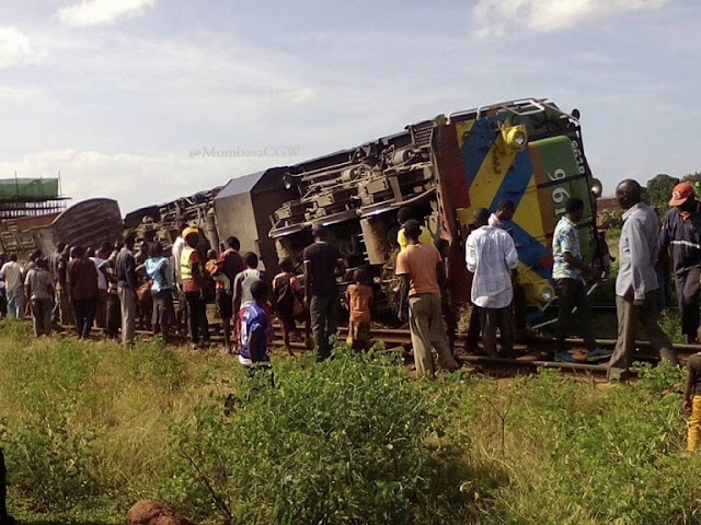 Photos Of The Train That Overturned On Its Way To Mombasa