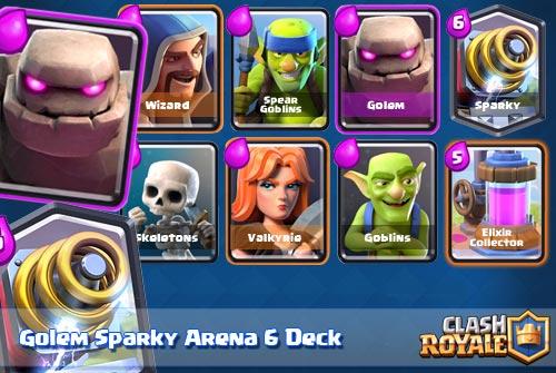 Strategi Deck Golem Sparky Arena 6 Clash Royale