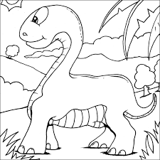 Adorable Baby Brachiosaurus Coloring Pages For Kids