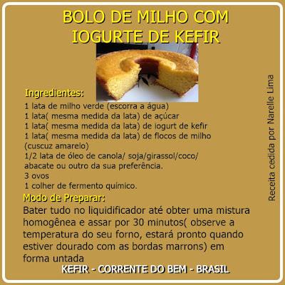 BOLO DE MILHO COM IOGURTE DE KEFIR
