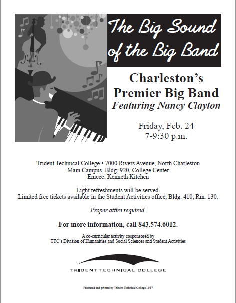 Trident tech downtown big band concert on friday feb 24th for Mercedes benz job fair charleston sc