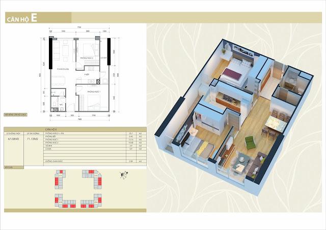 Thiết kế căn hộ loại E: 2 phòng ngủ, 2 vệ sinh, 67m2 thông thủy