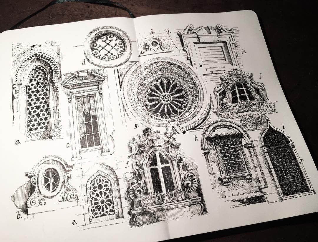 03-Windows New York- London-Paris-Delhi-Florence-Rome-Mark-Poulier-Drawing-Urban-Architecture-on-a-Sketchbook-www-designstack-co