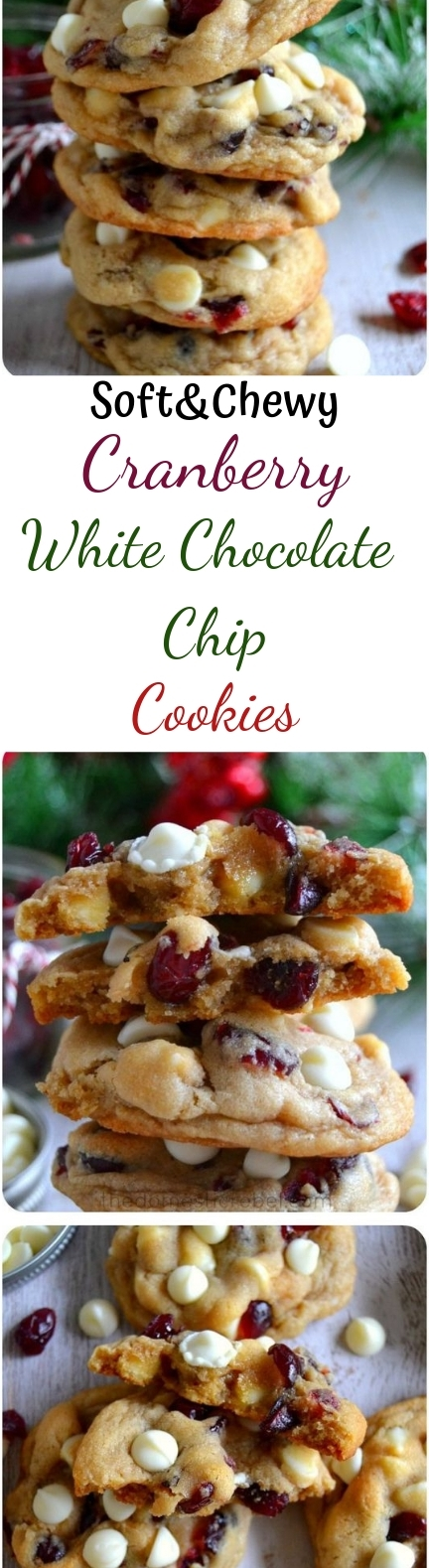 The BEST Soft & Chewy Cranberry White Chocolate Chip Cookies #christmas #cookies