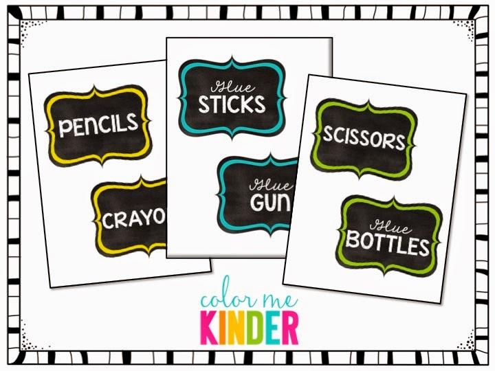 FREE Chalkboard Themed Supply Bin Labels   Color Me Kinder