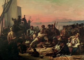Painted in 1840 during a time when slavery was still legal in French colonies, The Slave Trade by Auguste-Francois Biard is a strong statement against the institution.