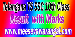 Telangana TS SSC 10th Class Result  with Marks Download