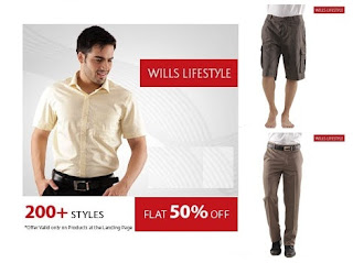 Snapdeal Offer : Get Flat 50% OFF on Wills Lifestyle Fashion Styles (On New Arrivals Also) for Men's & Women's