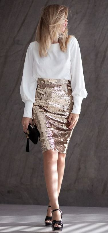 awesome holiday outfit idea / white blouse + golden glitter skirt + heels