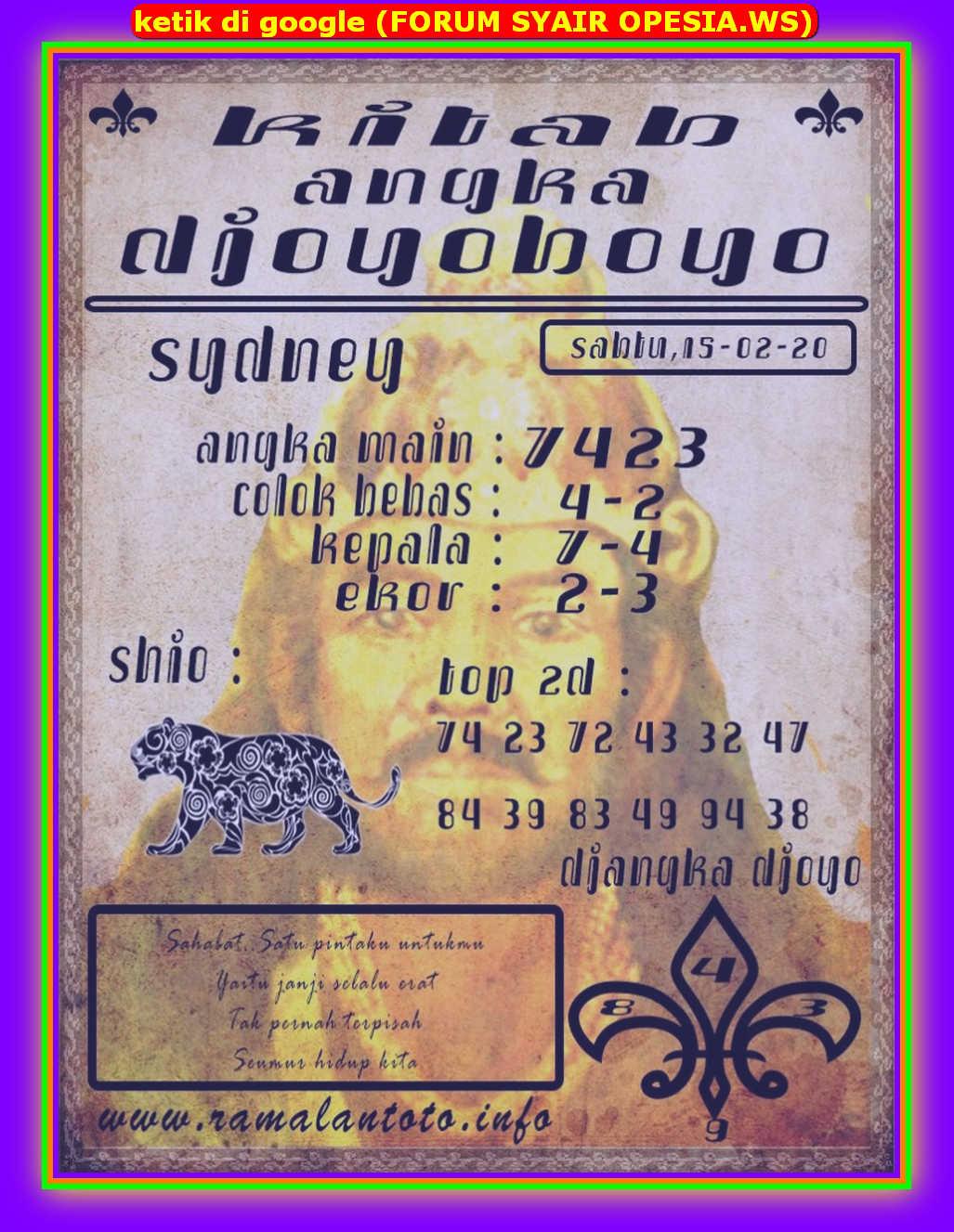 Kode syair Sydney Sabtu 15 Februari 2020 110