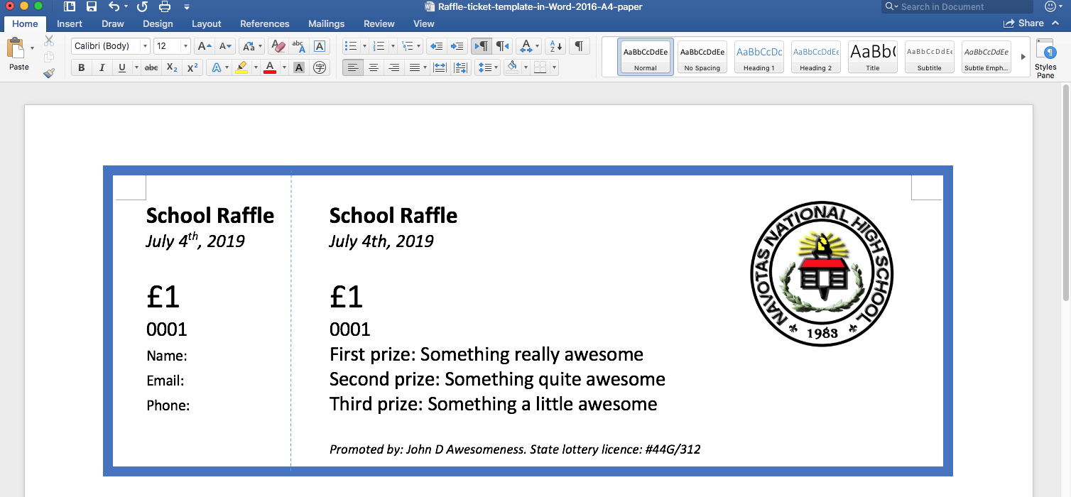 raffles and raffle tickets