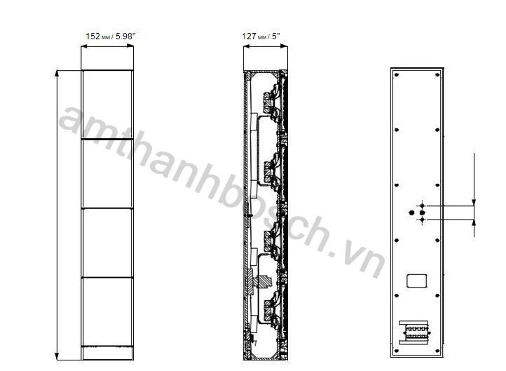Kích thước lao cột lao cột LA1‑UW24‑x1