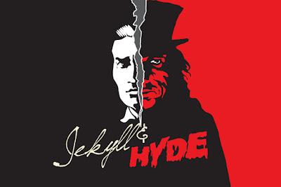Doctor Jeckyll y Mr Hyde, dibujo en rojo y negro