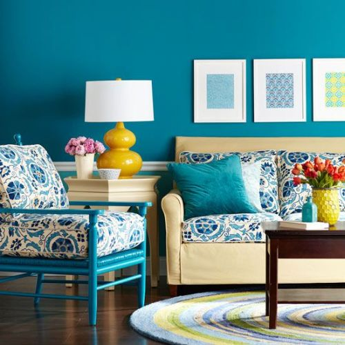 Turquoise, Yellow And Beige Living Room Part 97