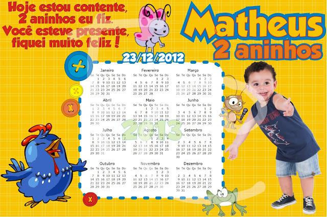 Calendário Galinha Pintadinha