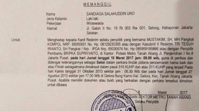 Surat Panggilan Polisi pada Sandiaga Uno. (IST) (ISt)
