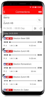 Aplikasi SBB Mobile untuk melihat jadwal kereta di Swiss