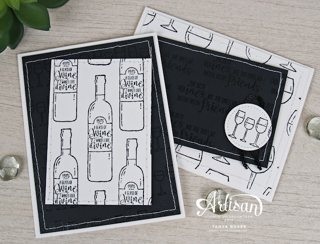 Clear embosing on black cardstock gives a lovely effect, and the Half Full stamp set from Stampin' Up! works sooo well with it! Tanya Boser, 2017 Artisan Design Team