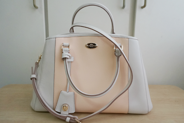 COACH Margot Carryall Handbag in Bicolor Crossgrain Leather (STYLE F34853)