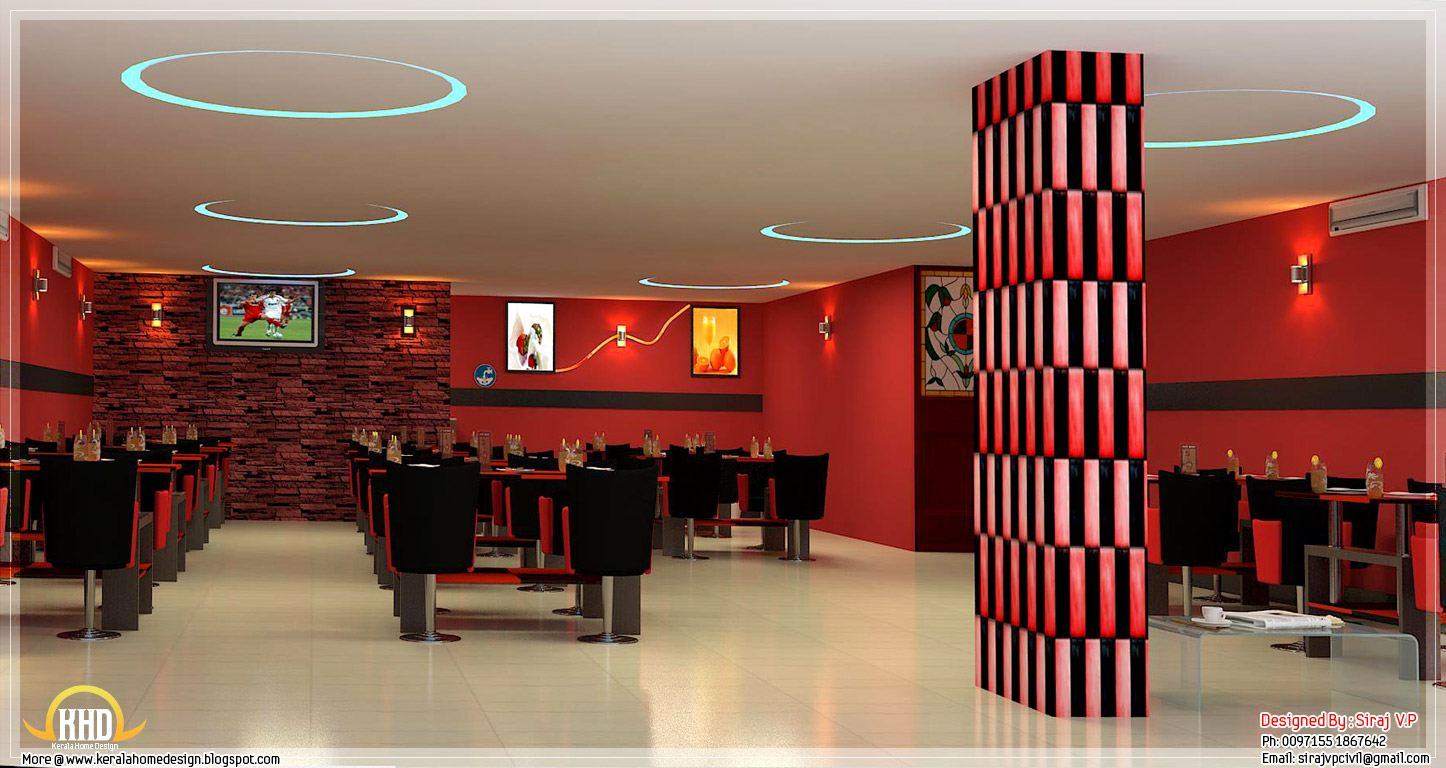 Red toned restaurant interior designs kerala home design for Indoor design ideas indian