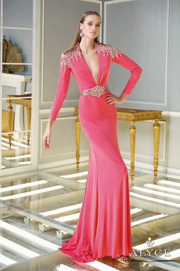 Bonitos vestidos con mangas largas | Vestidos largos para fiesta ...
