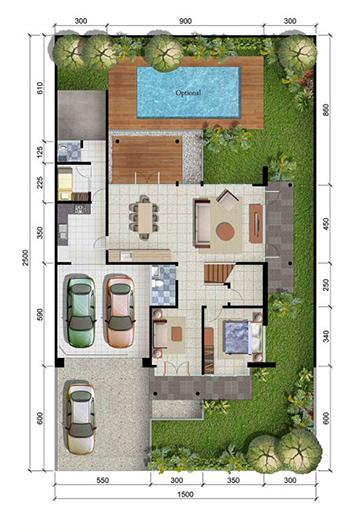 Denah rumah minimalis ukuran 15x25 meter 5 kamar tidur 2