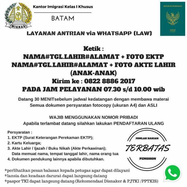 Layanan antrian paspor via whatsapp