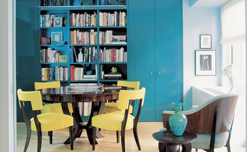 Turquoise and yellow room