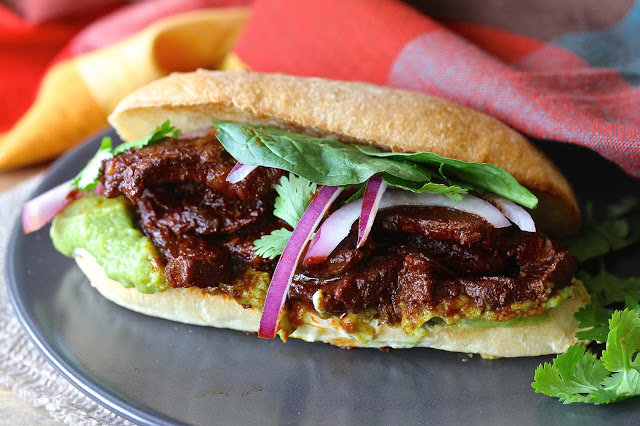 Most Popular Recipe of the Week // Tortas de Chile Colorado de Res from Karen's Kitchen Stories #recipe #SecretRecipeClub #Mexican #sandwich