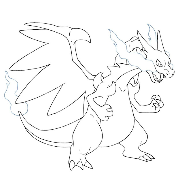 Mega Charizard Lineart By Ztak On Deviantart Within Pokemon Coloring  Pages Mega Charizard Ex